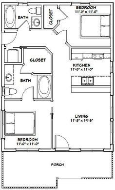 Image Result For 1 Bedroom 700 Sq Ft House Plans Tiny House Floor Plans Tiny House Plans Small House Plans