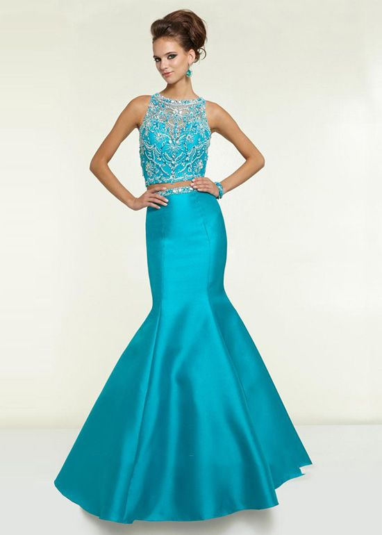 Long Dark Turquoise Two Piece Illusion High Neck Prom Dress