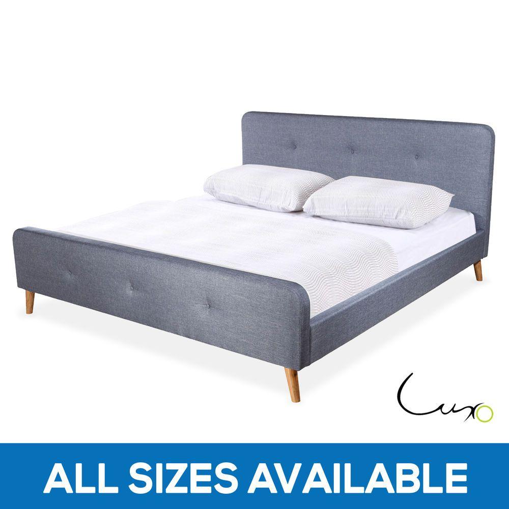 Scandinavian Fabric Upholstered Bed Frame Black Grey King Queen ...