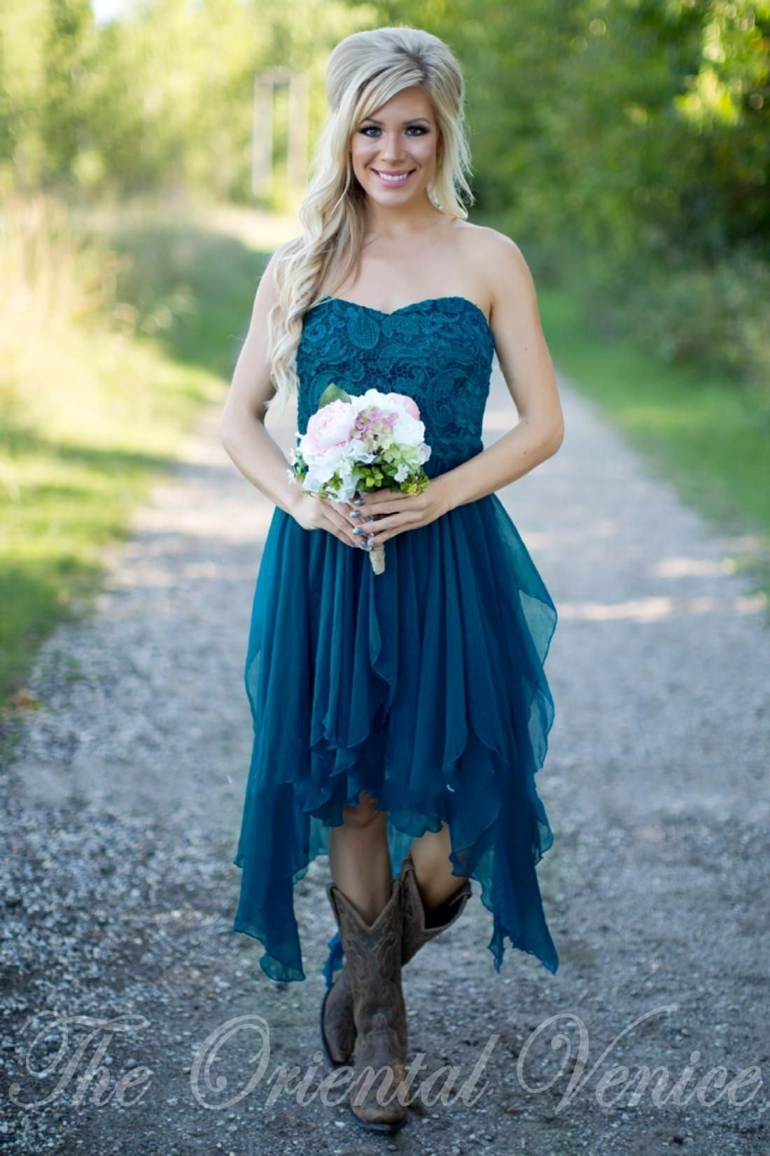 Country short bridesmaid dresses 2017 cheap teal chiffon for Country wedding dresses cheap