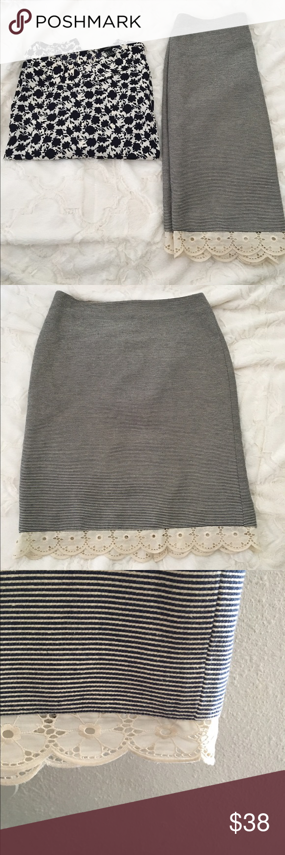 Pinstripe pencil skirt with lace trim Cute and comfy pencil skirt. Lace was added and the slit has been sewn down (see last pictures). In good condition. Approximately 25 inches long. 🔴 please no trade. Use offer button 🔴 Talbots Skirts Pencil