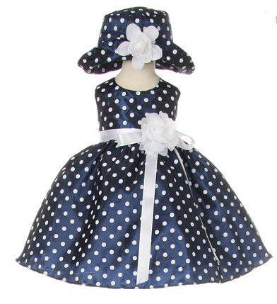 17c3920c46db Navy Taffeta Dot Baby Easter Dress with Matching Hat  36.99 ...