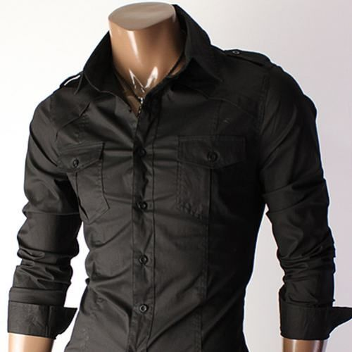 double breasted black button down