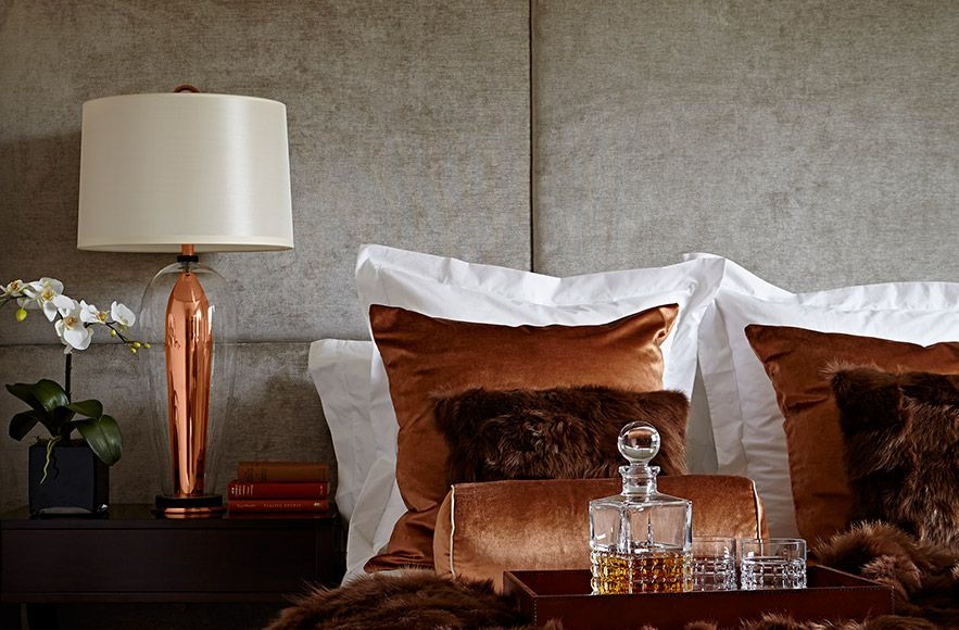 Love the copper tones in this bedroom