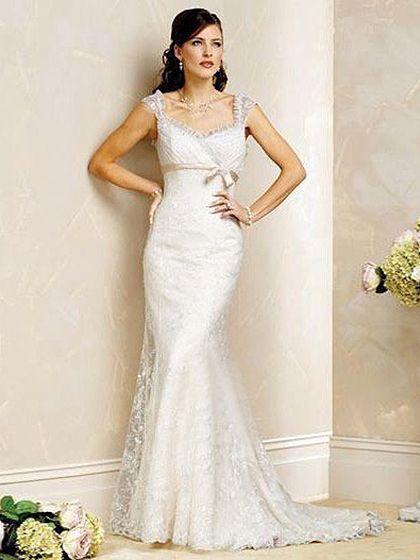 Trumpet/Mermaid Scoop Chapel Train Satin Wedding Dress with Lace at Msdressy