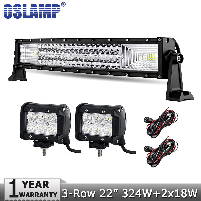 Oslamp 3 Row 22 Inch 324w Led Light Bar Offroad Led Bar Lights 18w Flood Spot Led Work Lights 12v 24v 4x4 Truck Suv A Offroad Led Led Work Light Led Light Bars