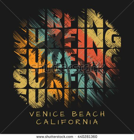 bdbd699c2312e Vector illustration on the theme of surfing in California