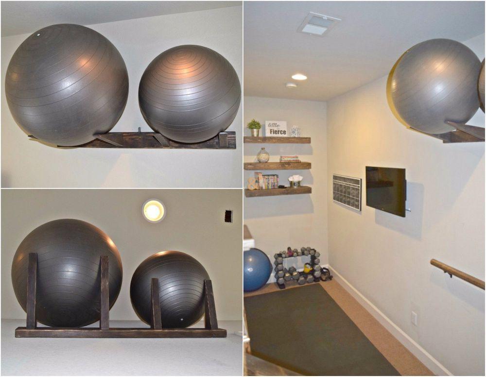 Workout Ball Holder Home Gym Organization Home Gym Organization Gym Organizer Diy Home Gym