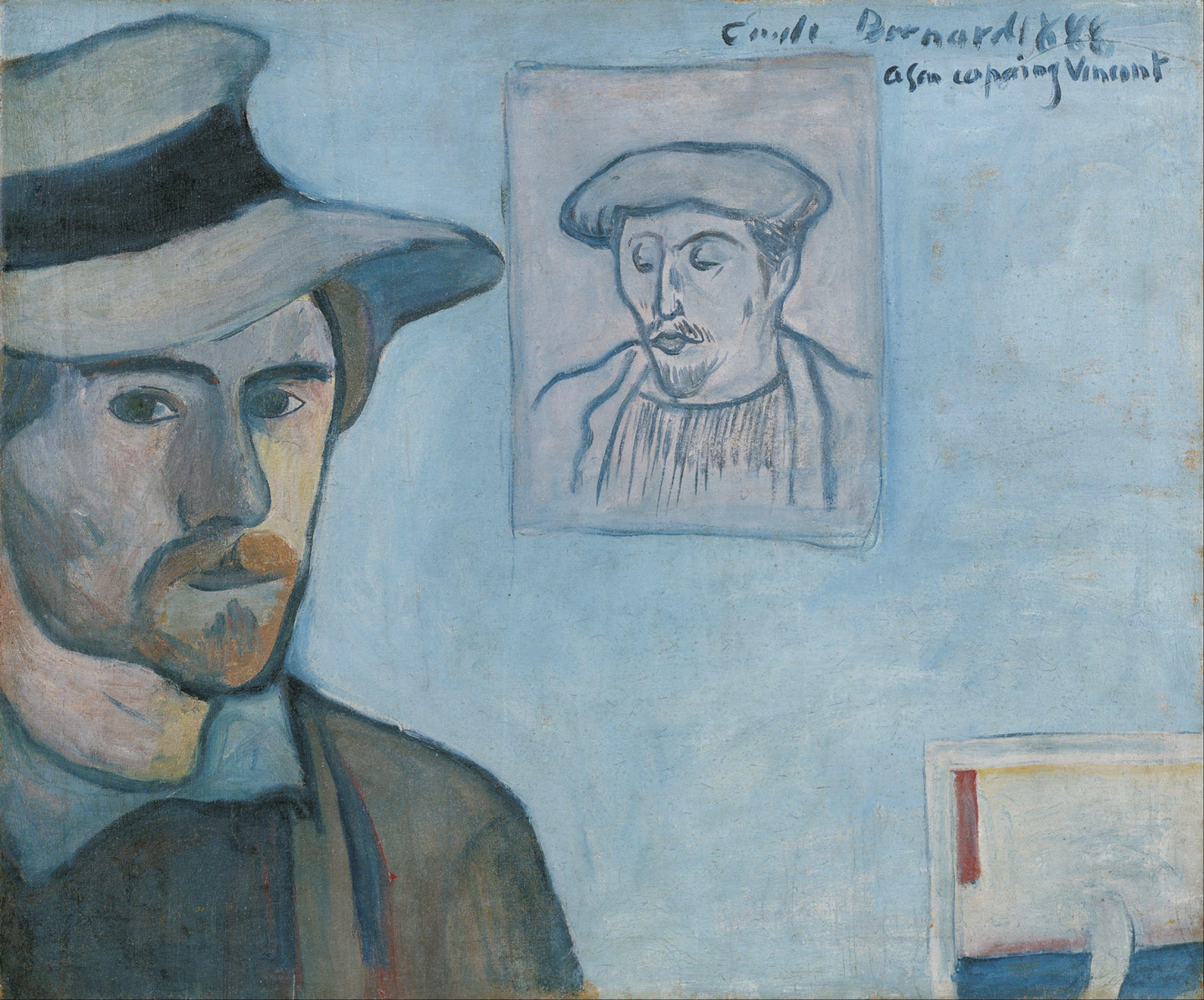 BERNARD Emile,1888 - Self-portrait with portrait of Gauguin