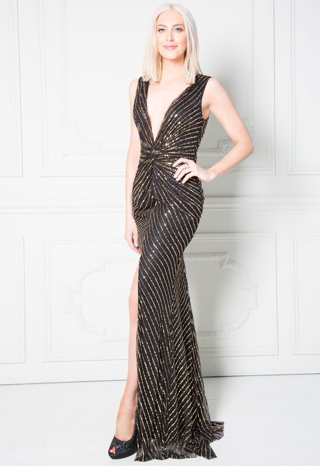 baf6f7aa268 Stephanie Pratt Deep V Neck Sequin Maxi Dress With Front Split in ...
