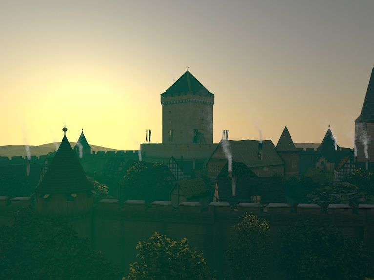 3d Reconstruction Of The Castle Wassenberg On The Lower Rhine In The 15th Century Founded As A Motte And Bailey Castle Here Is An E Burg Turm Visualisierung