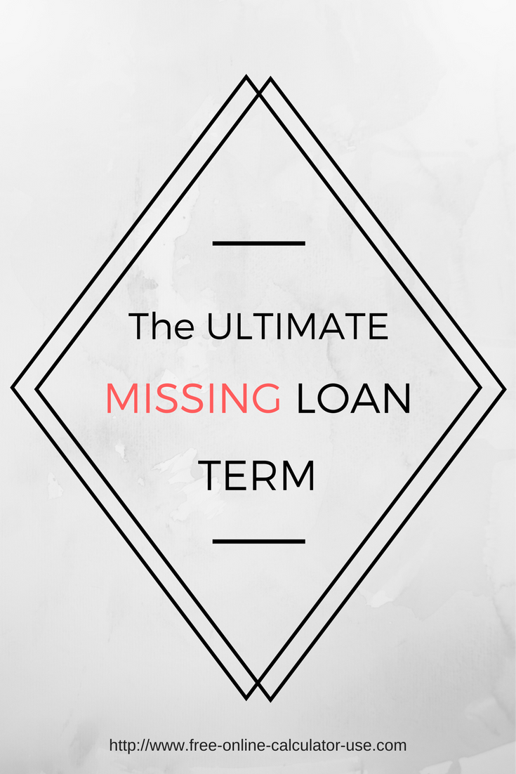Missing Term Loan Calculator for Calculating the Unknown