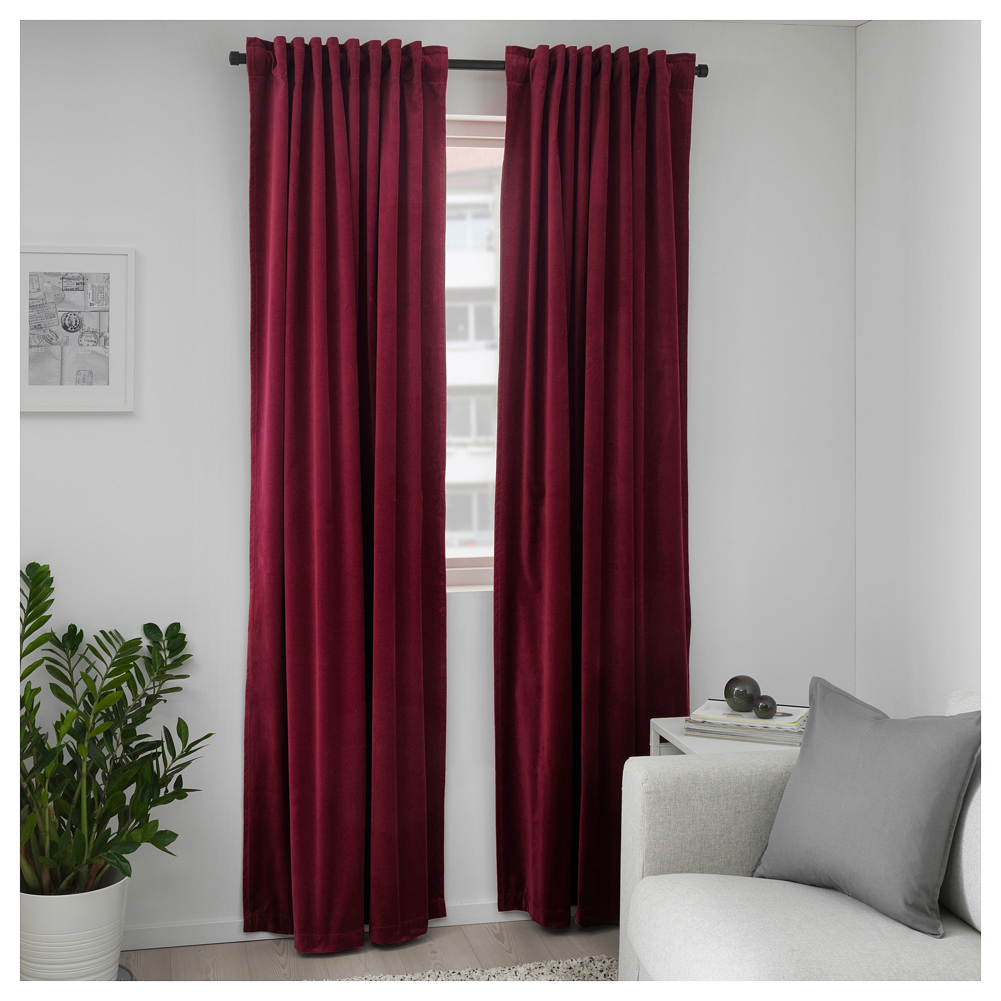 Furniture and Home Furnishings in 2019 | Red curtains living ...