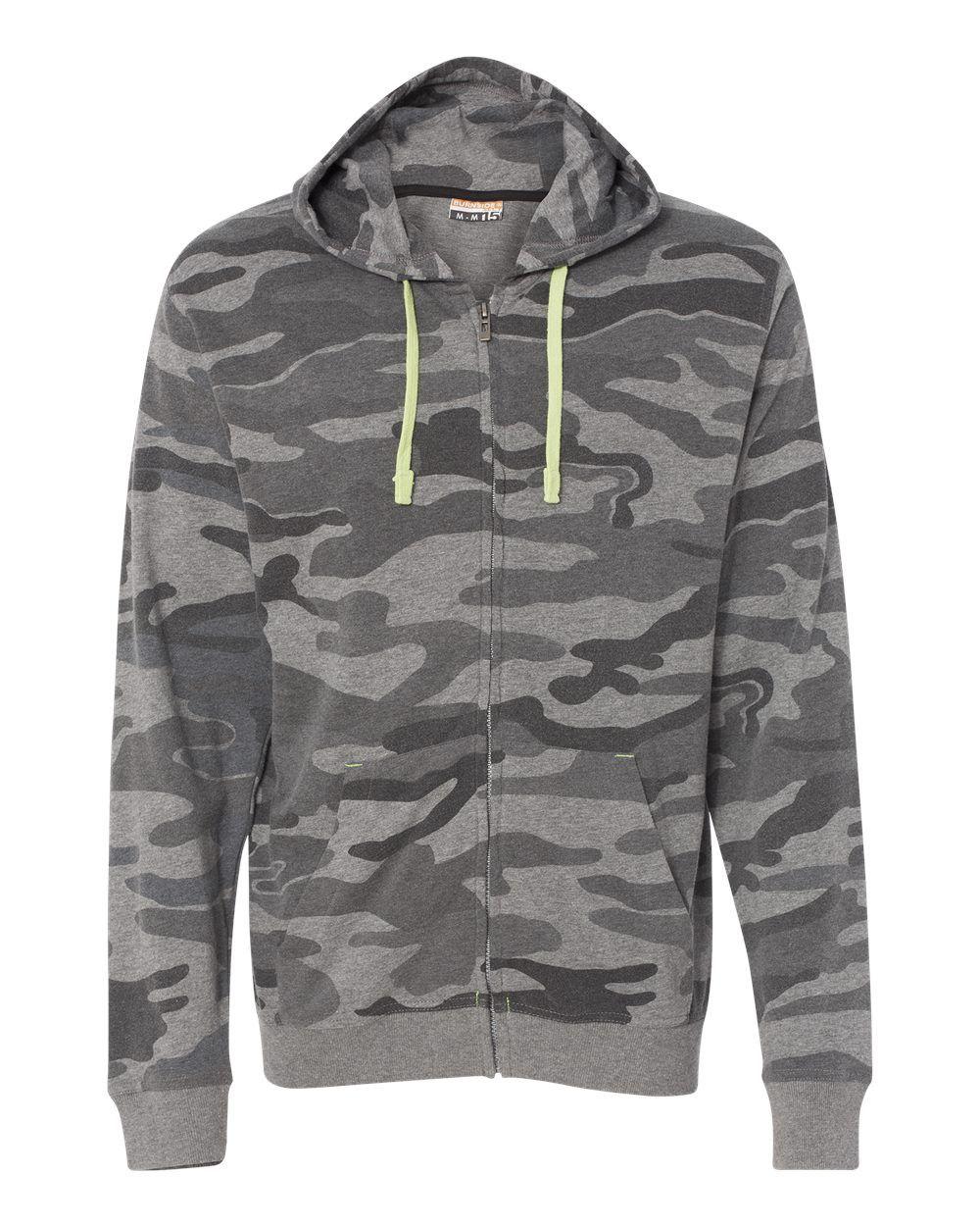 Burnside Camo Full Zip Hooded Sweatshirt B8615 Black