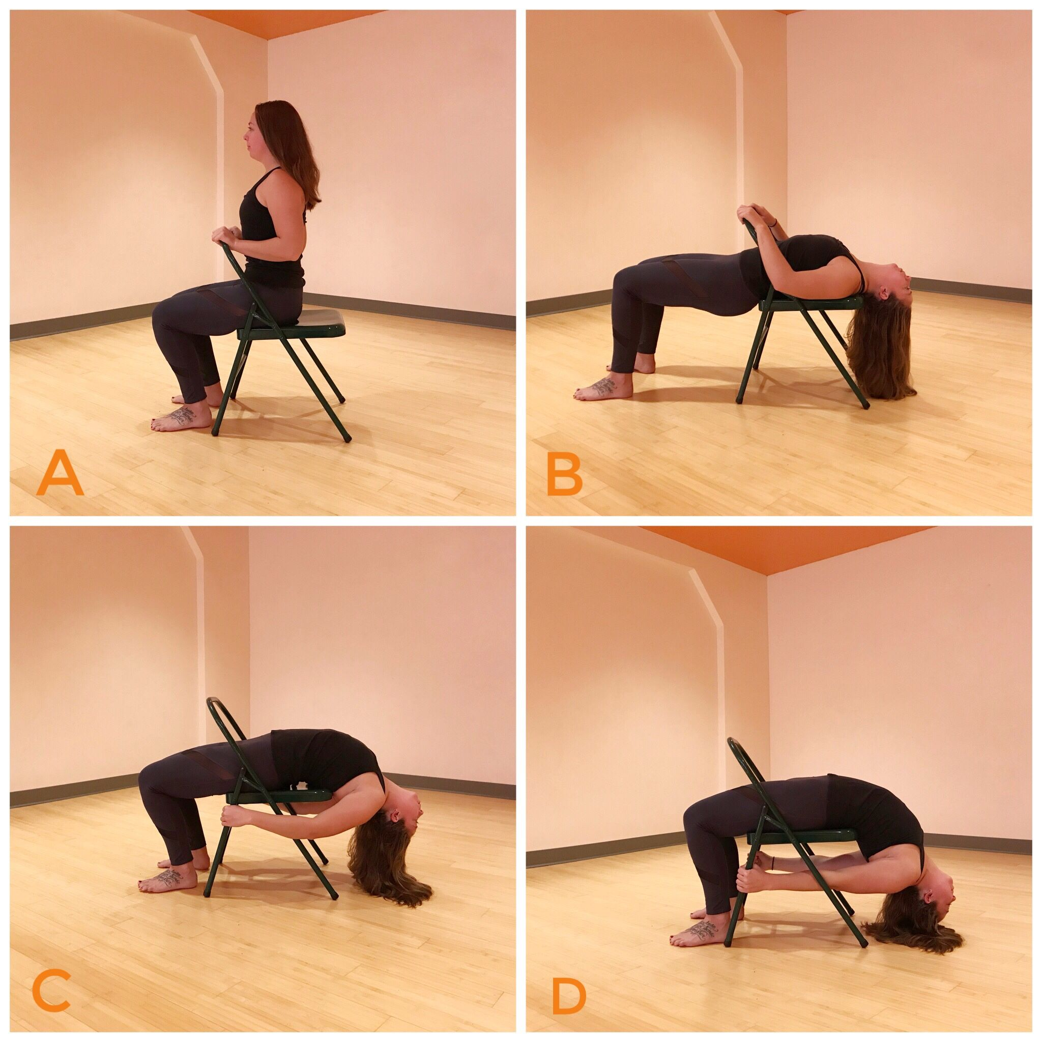 Urdhvadhanurasana Chairyoga Backbend Yogaprops Yoga Props Chair Yoga Yoga