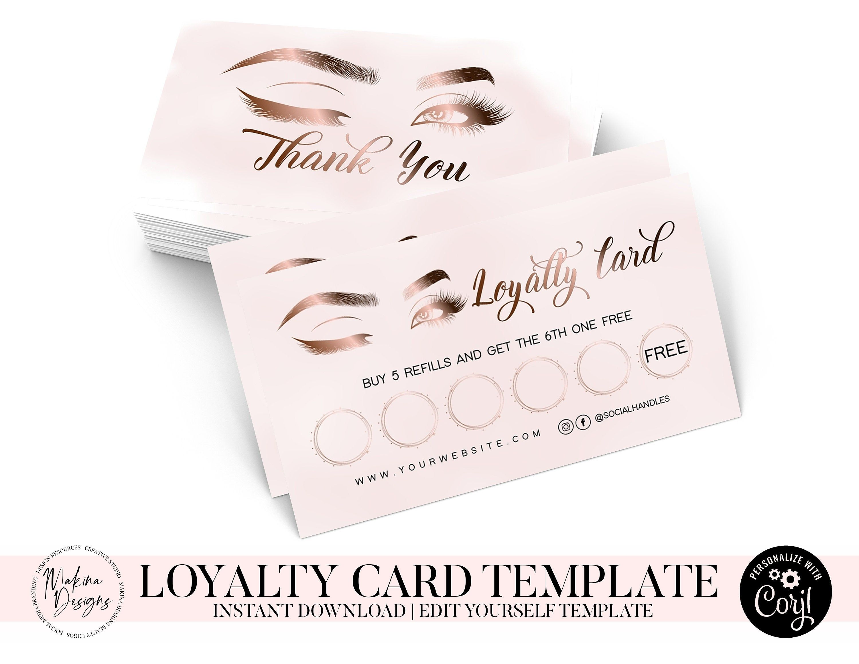 Lash Loyalty Card Template Logo Design Logo Premade Logo Etsy Loyalty Card Template Beauty Logo Design Premade Logo Design
