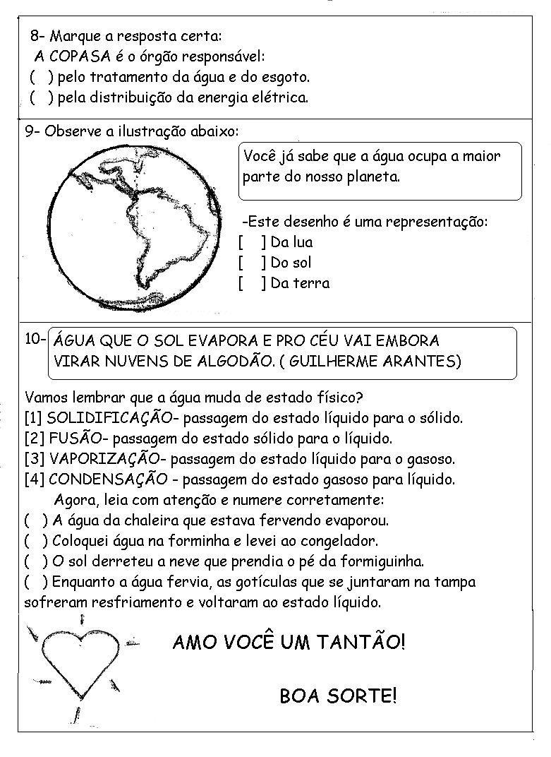 Populares AVALIAÇÃO DE CIÊNCIAS- 3º ANO | Mistura de Alegria | Ciências da  IT62