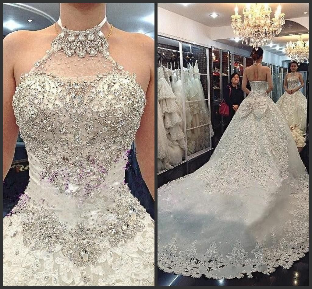 2015 Hot Sales Bling Wedding Dresses Halter Neckline Diamond Beaded Cathedral Train Luxury Arabic Gowns Bridal