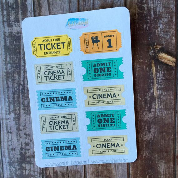 Item 0048 Cinema Movie Ticket Stickers perfect for by MsWenduhh