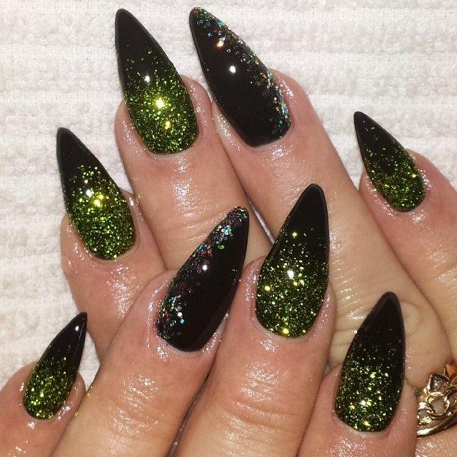 Black And Green Stiletto Nails Pretty Acrylic Nails Green Nails Black Sparkle Nails