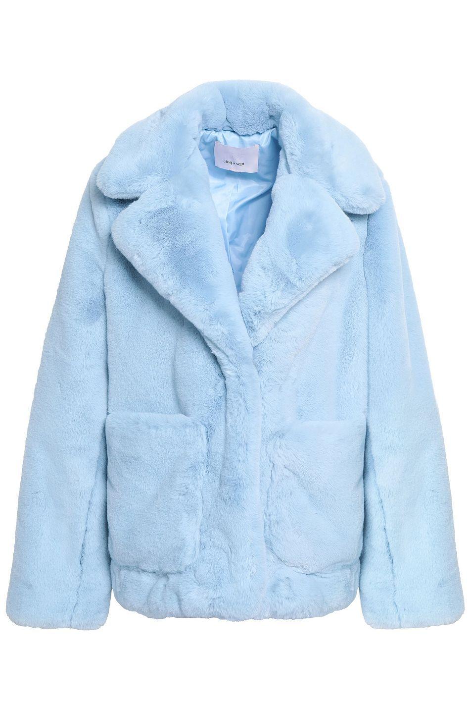 Light Blue Faux Fur Coat Sale Up To 70 Off The Outnet Cinq A Sept Blue Faux Fur Coat Faux Fur Coat Blue Fur Coat