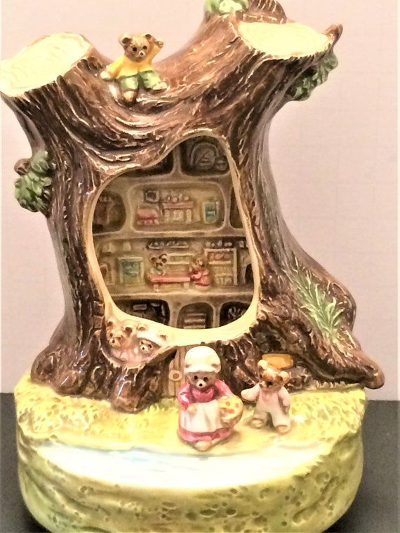 Vintage Otagiri Teddy Bear Music Box Its A Small World Wind Up