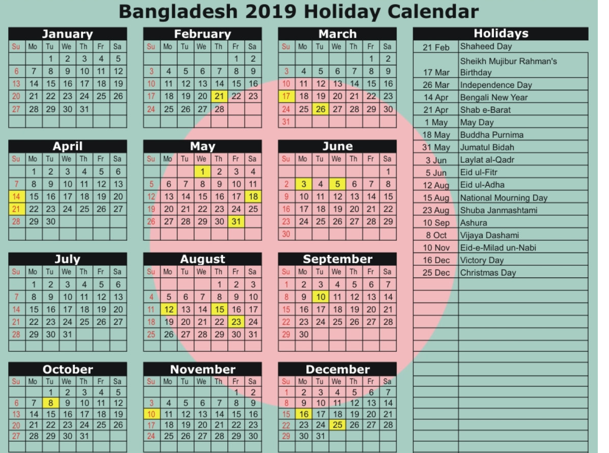Bangladesh Government Calendar 2019 Public National Holidays Technewssources Com Holiday Calendar Calendar March School Holiday Calendar