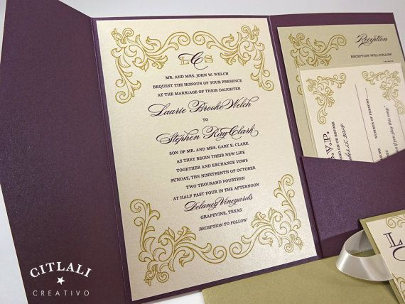 Elegant Plum Gold Wedding Invitations Pocket By Citlali