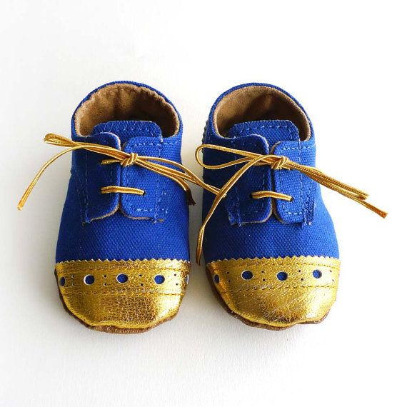 Baby Boy Toddler Shoes Royal Blue Canvas with Brogued Gold