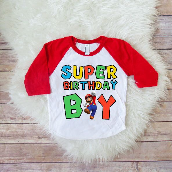 Super Mario Brothers Birthday Shirt Boy Party