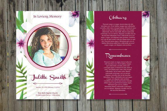 Funeral Program Template   5x7 Funeral Card Template   Memorial ...