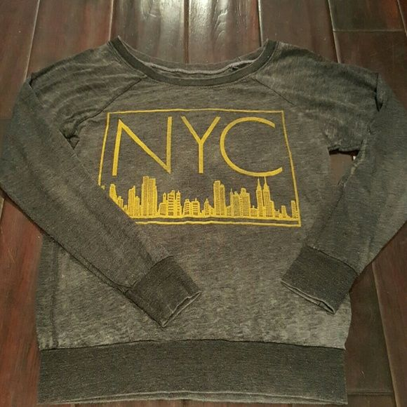 ChaSor NYC top Grey long sleeve thin burnout top with yellow NYC and skyline. 50% poly 38% cotton 12% rayon mafe in USA chasor Tops