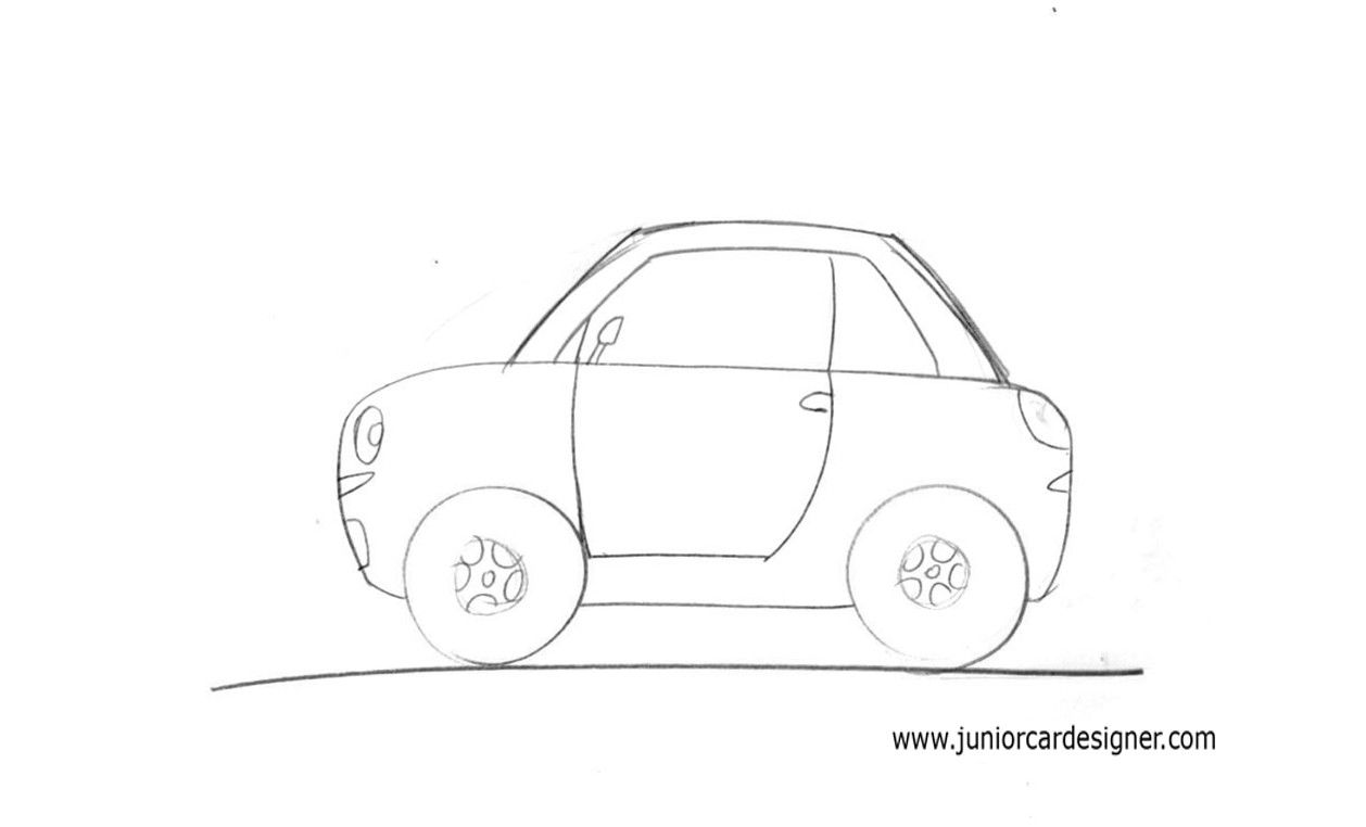 Draw An Easy Cartoon Car For Children In A Side View