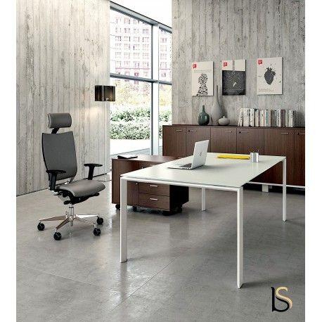 Magnifique Bureau De Direction En Verre Blanc Collection Officity