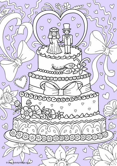 Wedding Cake Colour Pop Colouring Page Coloring pages
