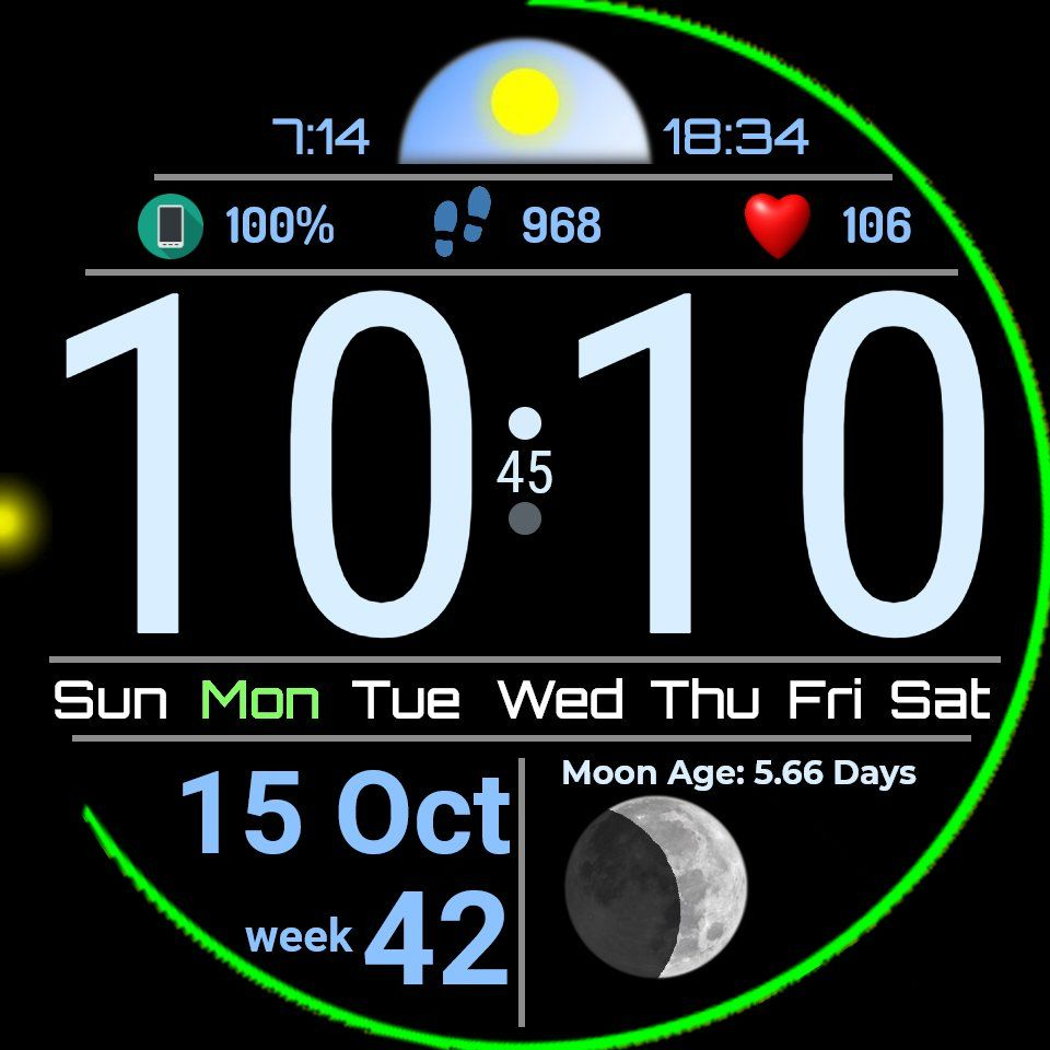 Lage Time With Power Indicators Steps Bpm Sunrise Set Moonphase In 2020 Android Watch Faces Huawei Watch Watch Faces