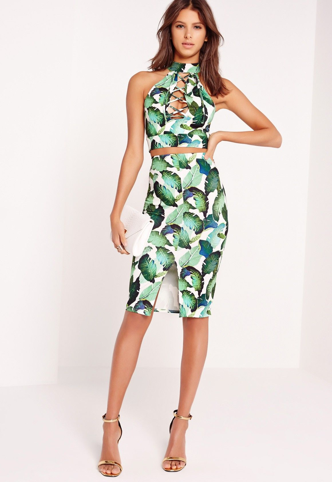 578bc17e2e Missguided - palm leaf print midi skirt multi | palm | Printed ...