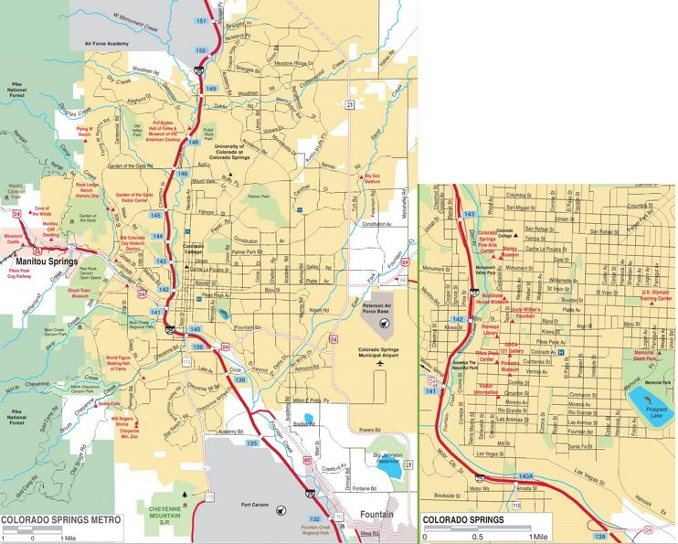 Colorado Springs Road Map Maps Pinterest Usa Cities And City - Map usa with cities