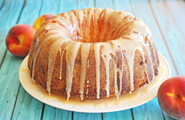 Honey Peach Pound Cake #peachcobblerpoundcake