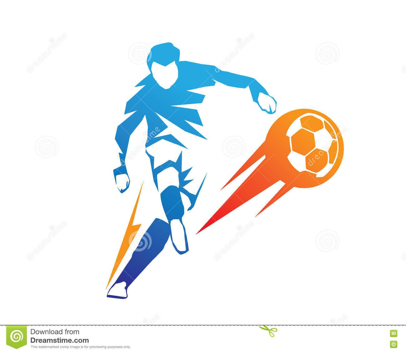 Football Player In Action Logo Ball On Fire Penalty Kick Stock Vector Illustration Of Company Clip 73818566 Penalty Kick Football Players Football