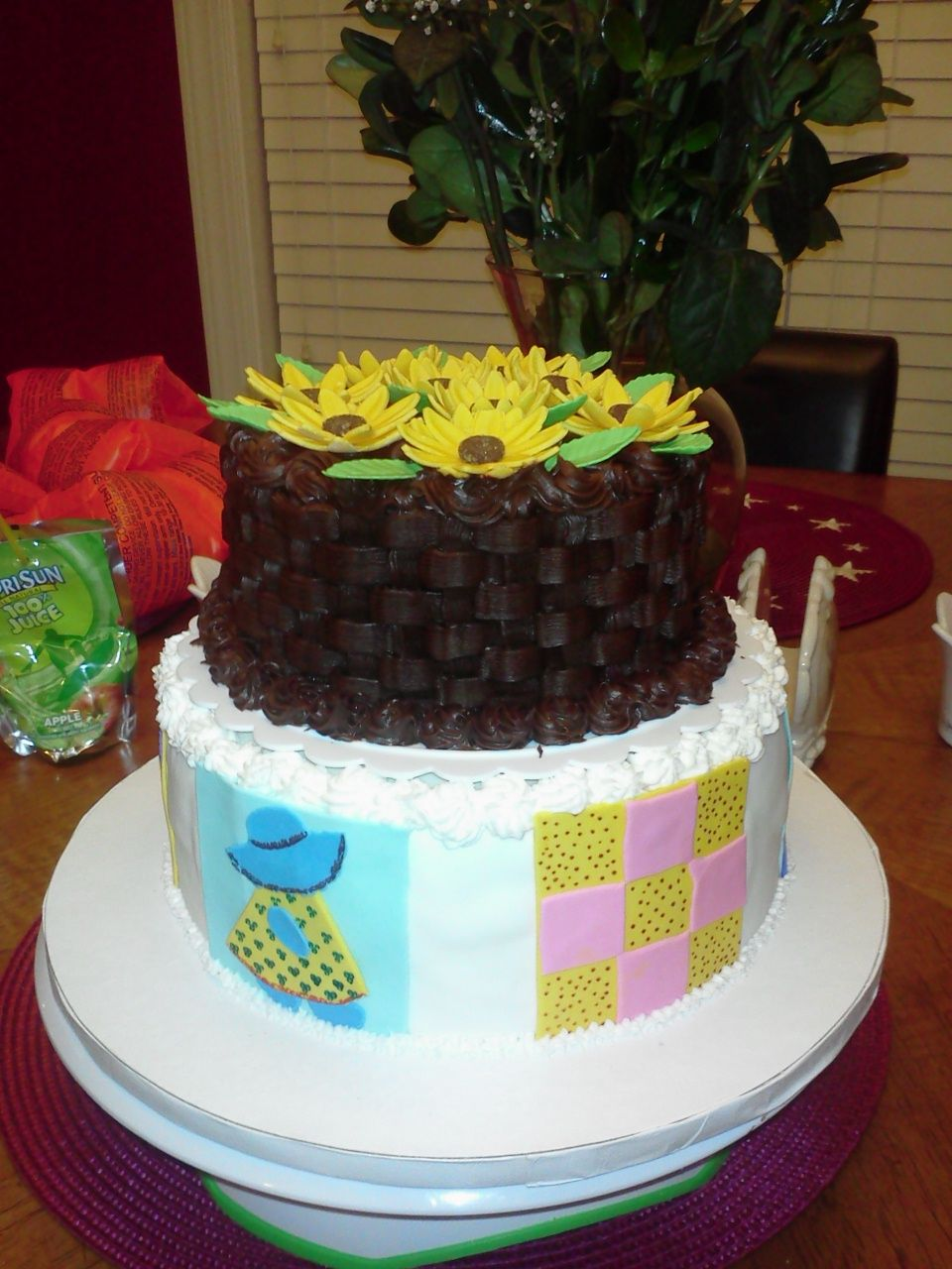 Quilt squares and black eyed susans cake