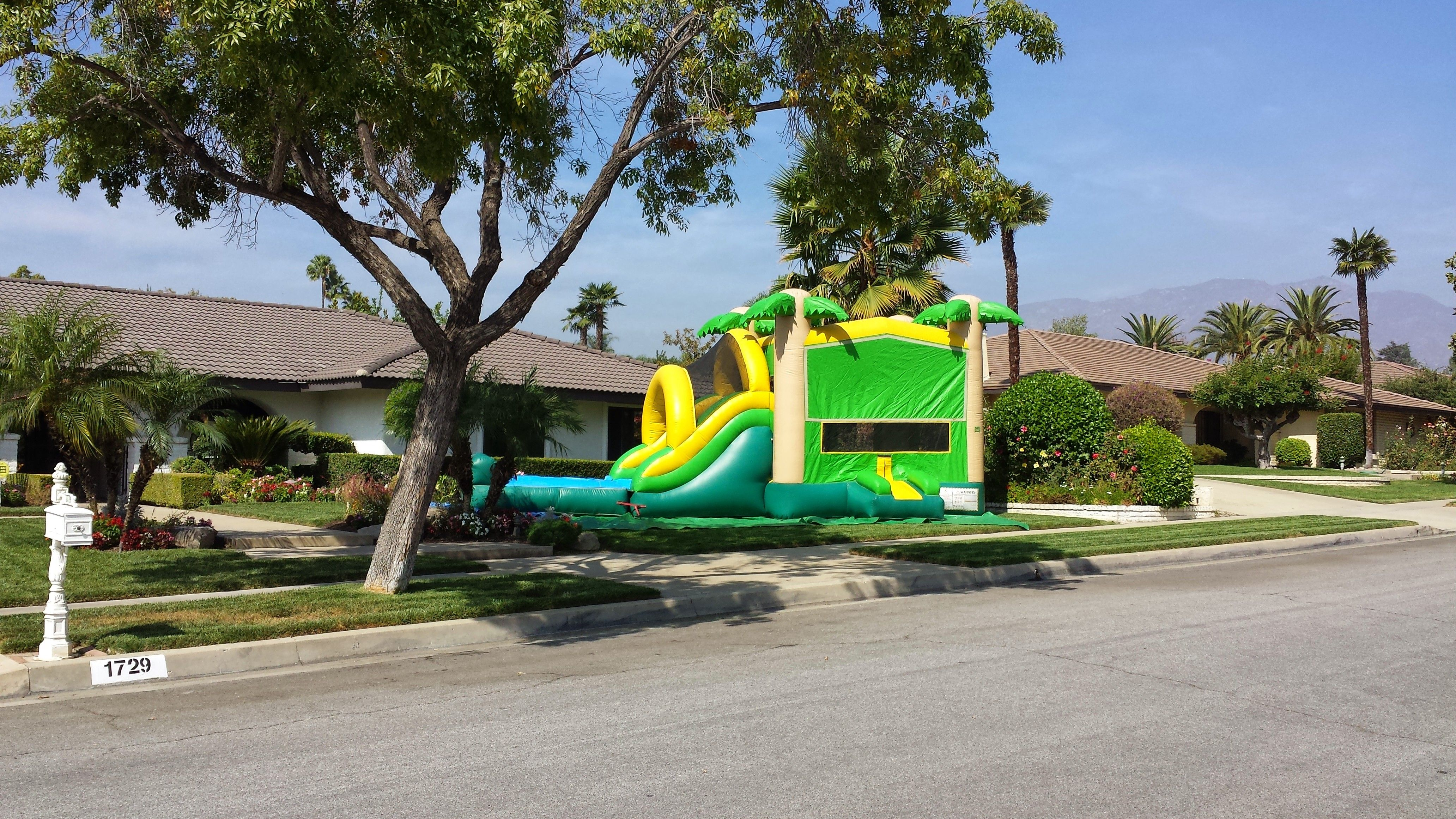 Large water slide jumper combo inflatable moon bouncer