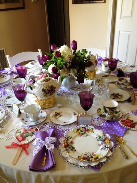 Make it Delightful!: Tea Table in Purples, Polka-Dots & Lavender