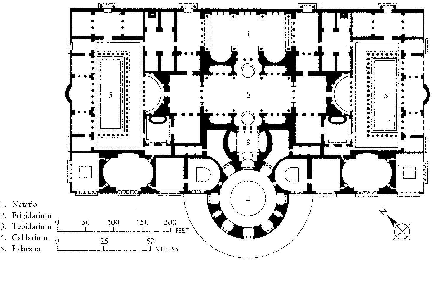 layout of the baths of caracalla roma thermae romanae