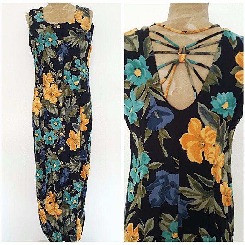 Vintage 80s Floral Dress Size Medium Cut Out Back Grunge Rockstar Maxi Festive #SaraMakesDresses #Maxi #Festive