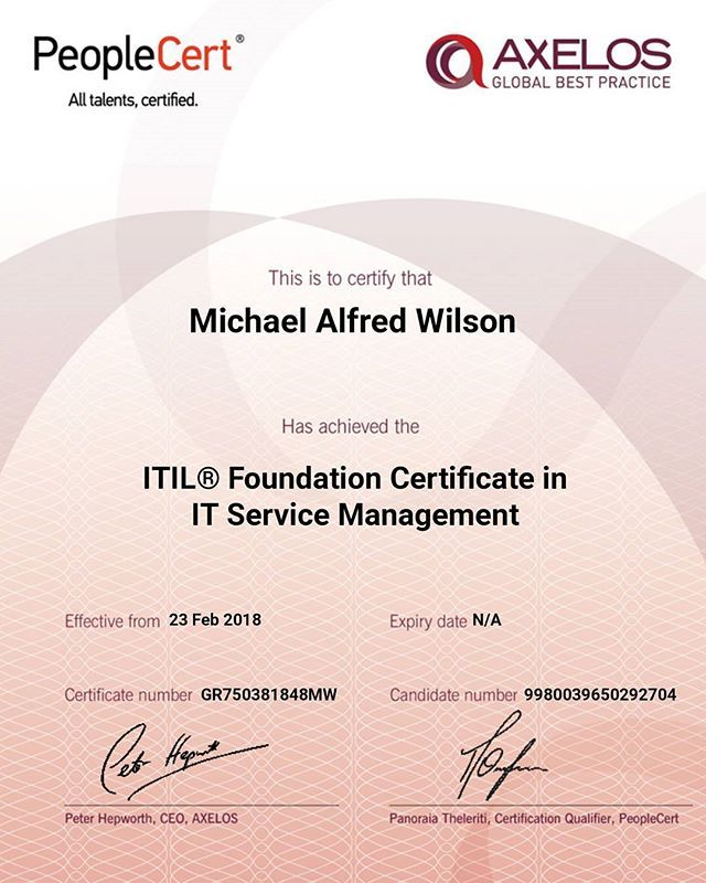 The Official Certificate Itil Itsm Itilfoundation Certificate