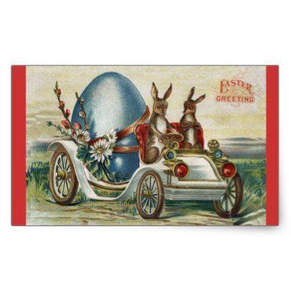 Vintage easter greetings rabbits antique car egg rectangular sticker vintage easter greetings rabbits antique car egg rectangular sticker white gifts elegant diy gift ideas negle Images