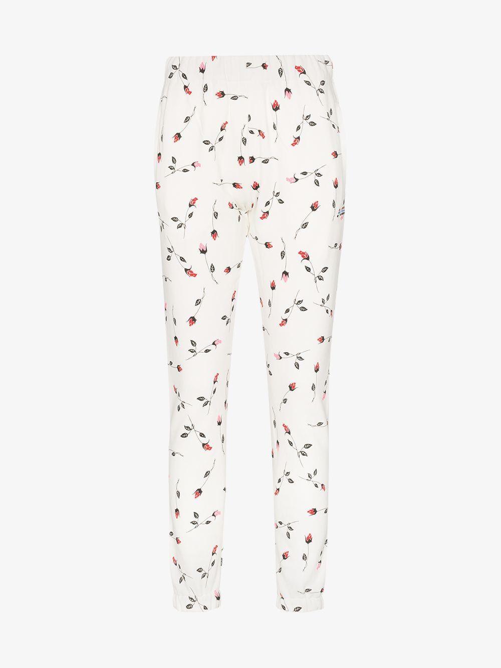 Floralprint Cottonblend Fleece Track Pants In White