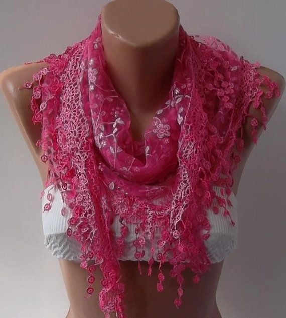 Pink Shawl Scarf  Headband with Lace Edge  Silvery by womann, $17.90