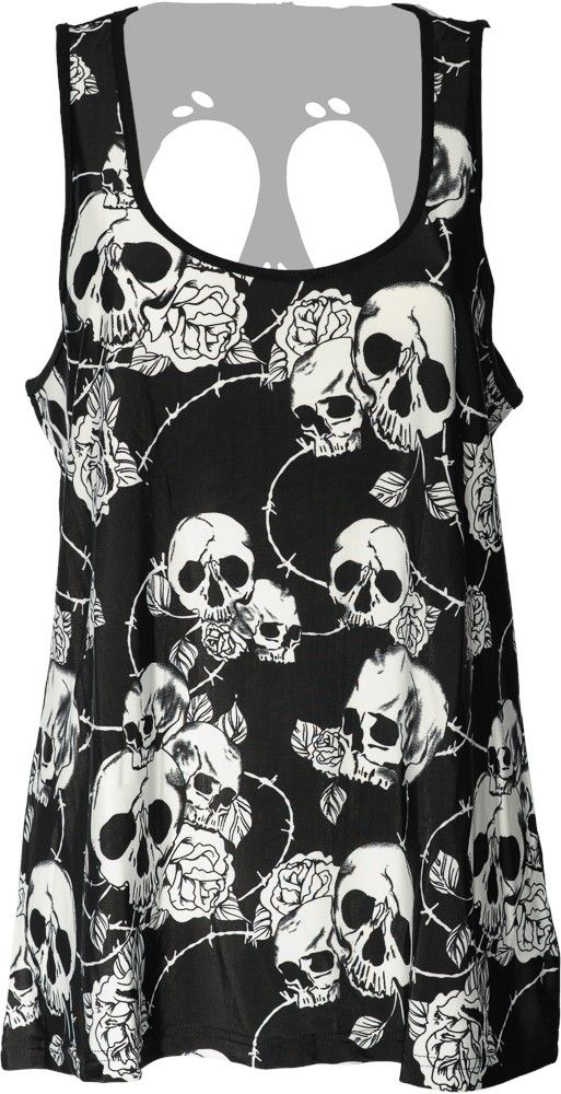 Black Floral Skull Gothic Emo Rockabilly Slashed Back Vest Top Banned Apparel